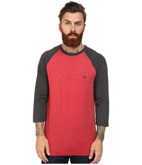 Volcom Heather 3 4 Raglan Drip Red Heather Men's Long Sleeve Pullover