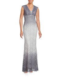 Betsy And Adam Ombre Lace Trumpet Gown Silver