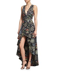 Alice Olivia Aveena Sleeveless Floral Print High Low Gown Bohemian Garden