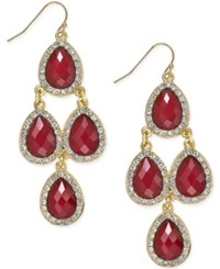 Inc International Concepts Gold Tone Jet Black Teardrop Chandelier Fish Hook Earrings Only At Macy's