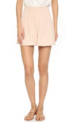 Alice Olivia Amani Double Pleat Shorts Blush