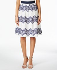 Nine West Flowy Floral Lace Striped A Line Skirt Navy Ivory