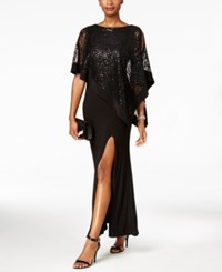 R And M Richards Sequined Lace Cold Shoulder Cape Gown Black