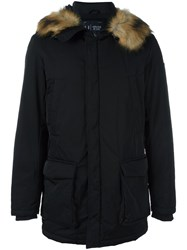 Armani Jeans Fur Collar Parka Black