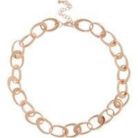 River Island Womens Rose Gold Tone Interlinking Chain Necklace