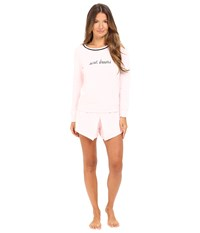 Kate Spade French Terry Skort Pj Pastry Pink Sweet Dreams Women's Pajama Sets White