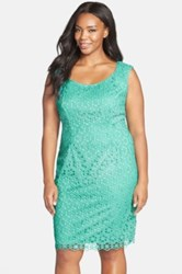 Adrianna Papell Floral Eyelet Lace Sheath Dress Plus Size Green
