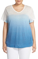 Plus Size Women's Two By Vince Camuto Dip Dye Linen Tee