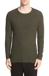 Men's The Rail Waffle Knit Crewneck Sweater With Side Zips Olive Green