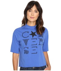 Converse Mock Neck Short Sleeve Tee Oxygen Blue Women's T Shirt
