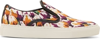 Mother Of Pearl Magenta Tulip Print Achilles Slip On Sneakers