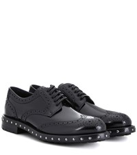 Dolce And Gabbana Brogue Style Leather Derby Shoes Black