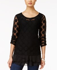 Styleandco. Style And Co. Polka Dot Lace Tunic Only At Macy's Deep Black