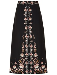 Vilshenko Black Floral Embroidered Claire Skirt