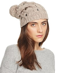 Aqua Embellished Slouchy Hat With Pom Pom Taupe Taupe Crystals