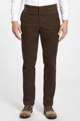 Wallin And Bros Flat Front Corduroy Trousers Brown
