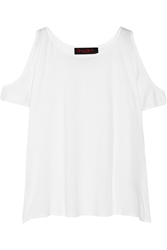Alice Olivia Cutout Shoulder Jersey Top White