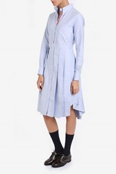 Thom Browne Pleated Skirt Shirt Dress Blue