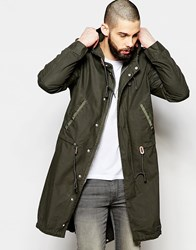 Brixtol Waxed Parka With Hood Olive Green