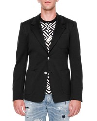 Dolce And Gabbana Two Button Jersey Blazer Black