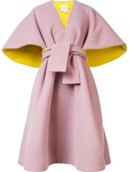 Delpozo Belted Poncho Pink And Purple