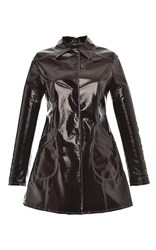 Giamba Lacquered Vegan Leather Coat Brown