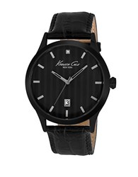 Kenneth Cole Mens Black Plated Three Hand Watch With Leather Strap