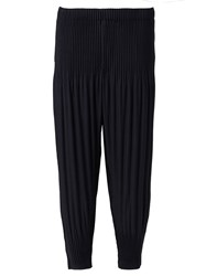 Issey Miyake Pleated Tapered Trousers Blue