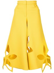 Rosie Assoulin Cut Out Floral Trousers Yellow And Orange