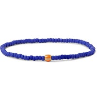 Luis Morais Gold Bead And Enamel Bracelet Royal Blue