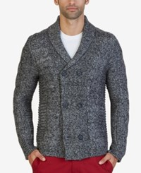 Nautica Men's Cable Knit Double Breasted Cardigan Heather Grey