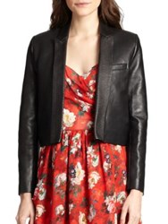 The Kooples Cropped Leather Blazer Black