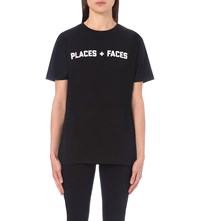 Places Faces Logo Print Cotton Jersey T Shirt Black White