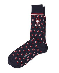 Stripes And Dots Printed Socks Red Psycho Bunny Paprika
