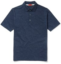 Isaia Slim Fit Herringbone Cotton Polo Shirt Blue