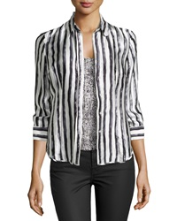Paperwhite Striped Silk Blouse Multi