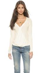 Ramy Brook Molly Long Sleeve Drape Front Top Ivory