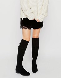 New Look Suede Over The Knee Flat Boot Black