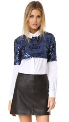 English Factory Sequin Button Down Shirt Blue White Combo