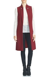 1.State Women's Button Lapel Longline Vest Wine