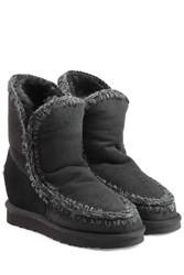 Mou Eskimo Wedge Short Sheepskin Boots Black