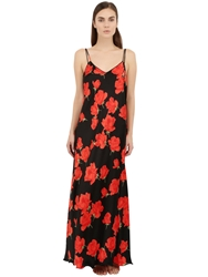 Loretta Caponi Rose Printed Silk Satin Night Gown Black Red