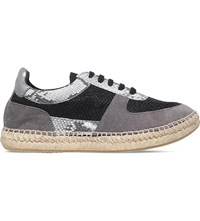 Kurt Geiger Lindon Reptile Effect Leather Trainers Grey