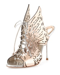 Sophia Webster Cherub Winged Lace Up Mule Rose Gold Silver