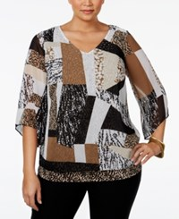 Jm Collection Plus Size Printed Angel Sleeve Blouse Only At Macy's Cheetah Glass