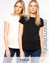 Asos Maternity Crew Neck T Shirt With Capped Sleeve 2 Pack Save 14 Creamblack