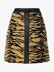 Adam By Adam Lippes Tiger Jacquard A Line Mini Skirt Black Brown
