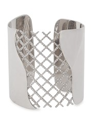 Joanna Laura Constantine Crystal Embellished Rhodium Plated Cuff Silver