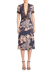 Yigal Azrouel Printed Lace Trim Dress Baltic Multi