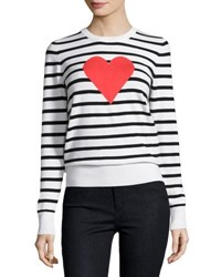 French Connection Heart Struck Striped Sweater Black White